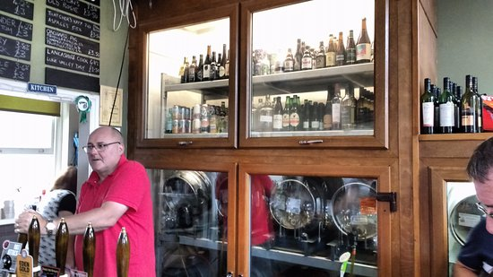 The Snug Micropub: The bar and the owner.