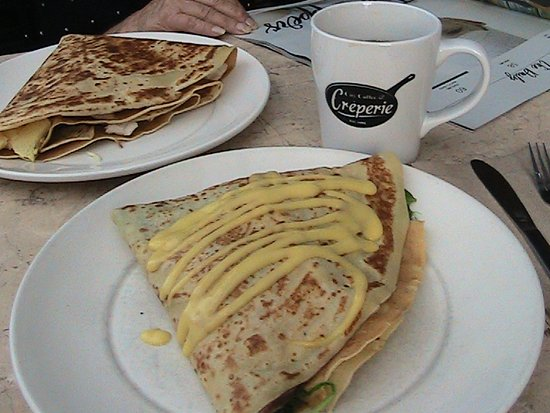 Clayton, MO: Egg & Meat crepe in back