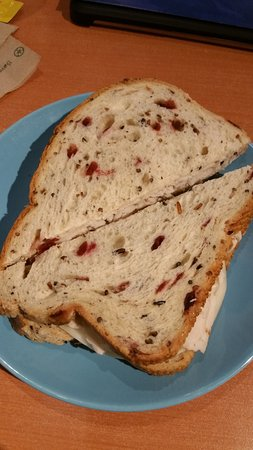 Perk Place Coffeehouse & Bakery: awesome sandwich, turkey on a cranberry/nut bread