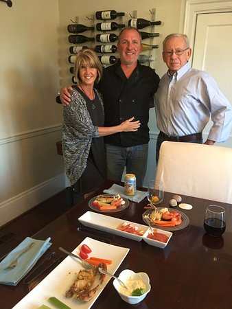 Beaufort, NC: Kim and Jon posing with my husband during our amazing happy hour--wine, softshell crabs and shri