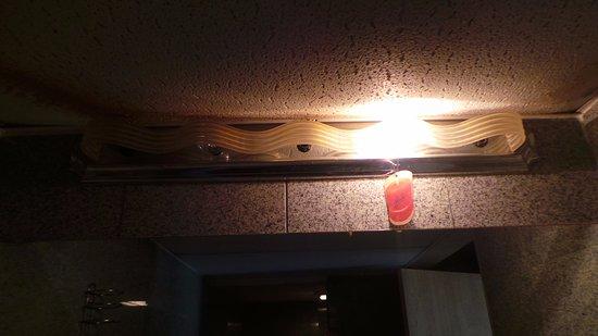 Ashburn Inn: 1 bulb in a 5 bulb bathroom fixture