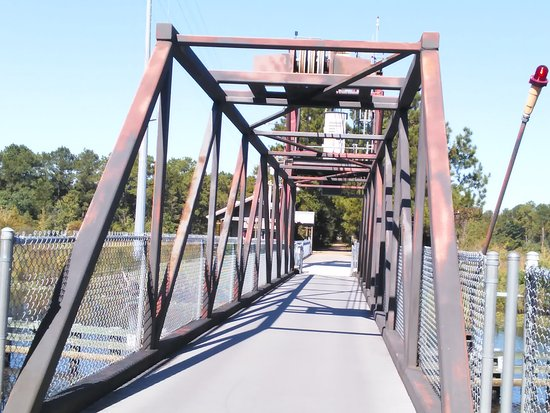 Slidell, LA: Close up view of the drawbridge on the Tammany Trace Trail