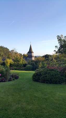 Presteigne, UK: A view from the garden overlooking the church