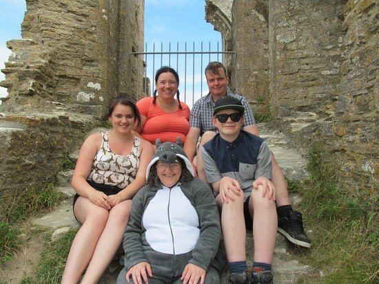 Corfe Castle, UK: Clockwise: George, Anne, Dick, Julian, and Timmy the dog!
