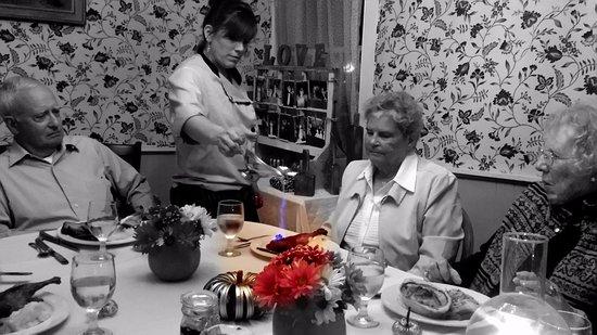 YE OLDE TAVERN: Tina is flambeing our Mocha Chocolate Bombe.