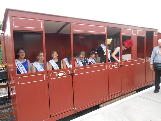 Listowel, Ireland: The Roses visited us here at the Lartigue Monorail and Museum During the Rose of Tralee festival