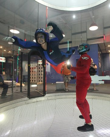 iFLY Austin Indoor Skydiving: on the second flight she was up higher