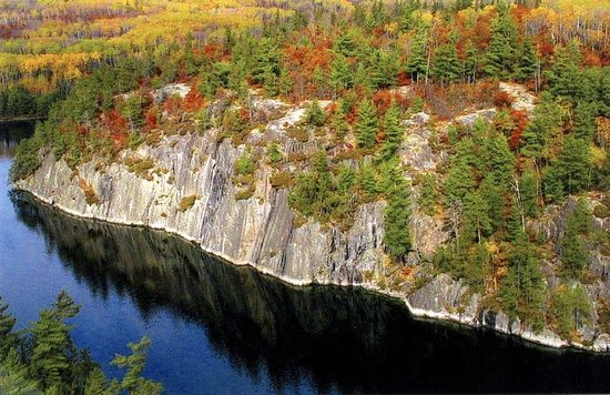 Crane Lake, MN: Grassy Bay Cliffs in the fall