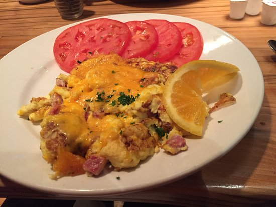 Bigfork, MT: ham and egg scramble with tomato slices instead of toast.