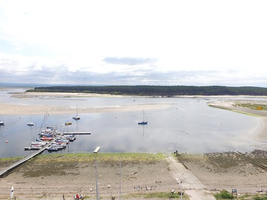 A view across Findhorn Bay with the marina to the left