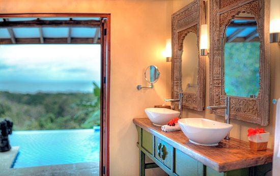 Hotel Casa Chameleon: Bathroom looking out onto private plunge pool