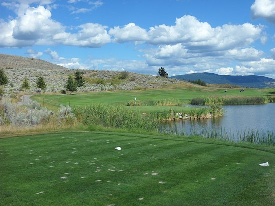 Vernon, Canadá: A view of the 15th green on the left. Picture taken from the 16th white tee.