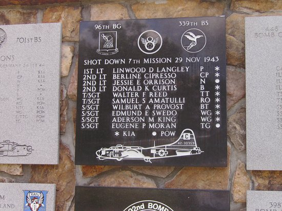 Pooler, GA: Plaque of B-17 Shot down over Germany.