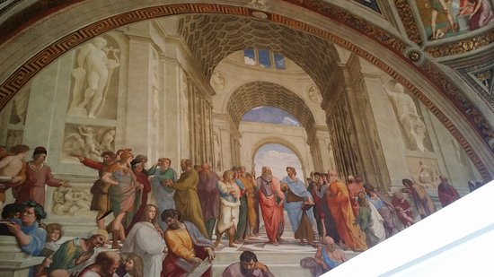 The School of Athens a big white barrier stopped tourists from