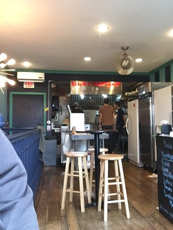 Granville, OH: Inside, clean and friendly.  You can even have a burger spiced!