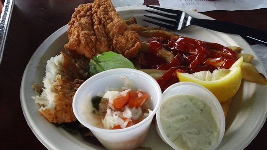 West Dennis, MA: Fried fish platter on disposable plate