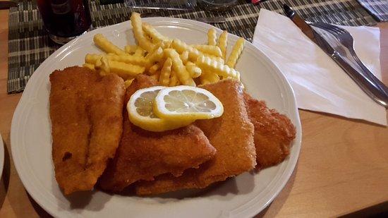 Steyr, Austria: Alles auf einem Teller: Pommes, Fisch, Käse, Schnitzel und Hähnchen