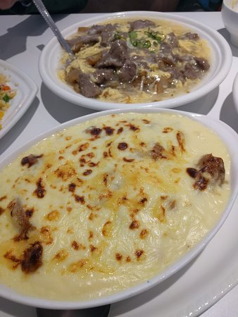 magic tea beef and egg hor fun and pork chop rice bake
