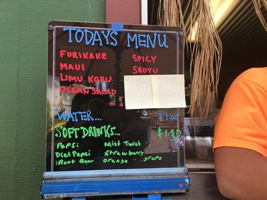 Lana'i Ohana Poke Market: Daily menu at Poke Market take-out window