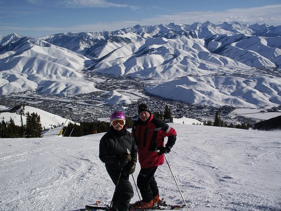 Sun Valley, ID: My wife and I close to the top of Baldy - Standing at the start of College, an intermediate run.