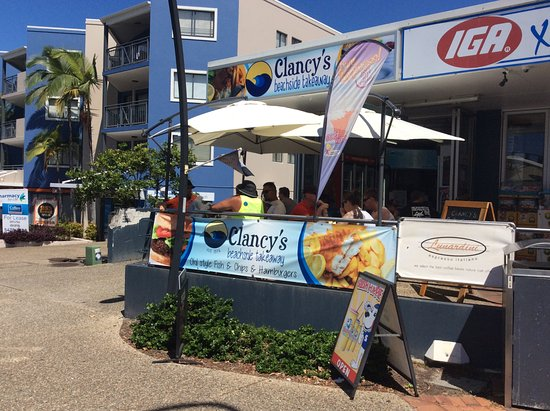Clancy's takeaway: Nice place to sit for breakfast,lunch and dinner watching the waves roll onto the beach