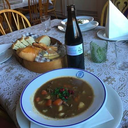 Finnmark, Norway: Supern reindeer stew and local crow-berry juice