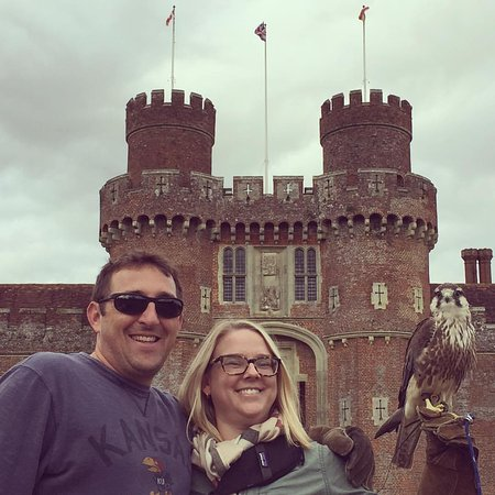 Herstmonceux, UK: The castle in the background. It has a moat and everything!