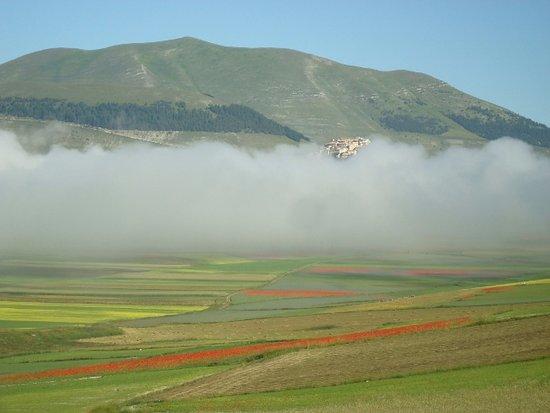 Umbria, إيطاليا: Castelluccio spunta dalla nebbia