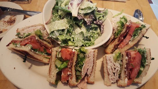 Westbury, NY: Club sandwich with a salad