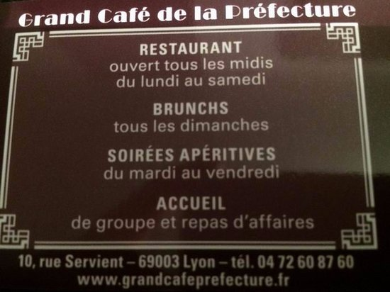 Grand Cafe Prefecture Carte De Visite Lendroit