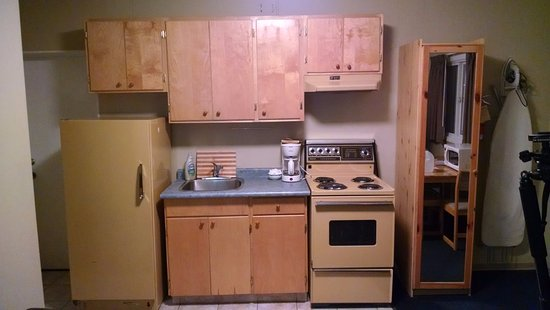 Schell Motel: Avocado kitchenette :)