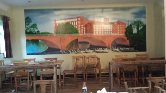 The fabulous mural of the Belper mills painted on the back wall