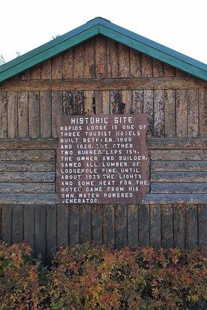 Rapids Lodge: History Plaque