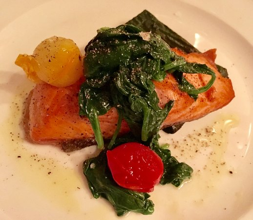 Sant Ambroeus: Seared Salmon Special with Spinach Soufflé