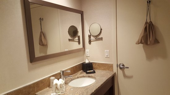 Holiday Inn L.I. City - Manhattan View: Shaving/Makeup Mirror, hair dryer is on the back of the door.