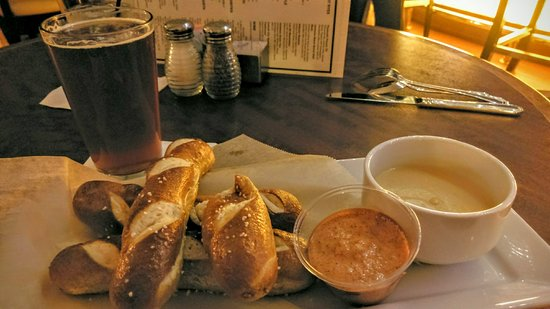 Volt: Dragonmead Corktown Red local beer and baked pretzel sticks with mustard and beer cheese dip