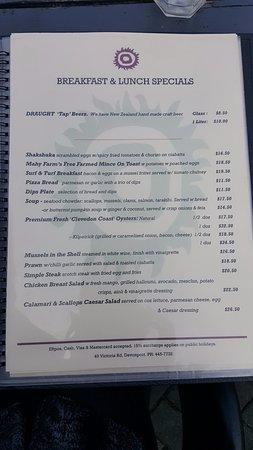 Manuka Cafe, Devonport - menu
