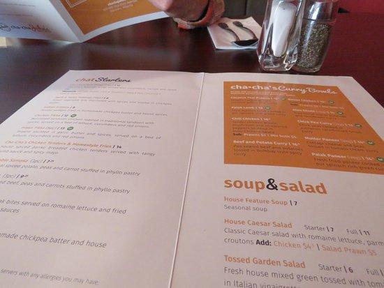 Okotoks, Canada: The menu