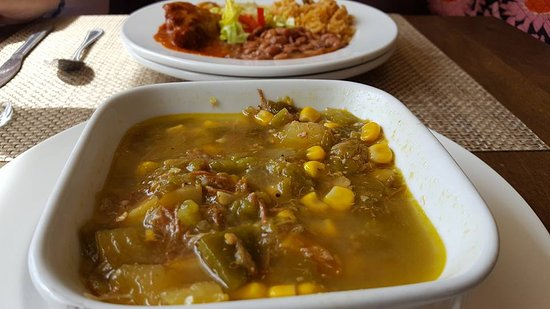 Las Vegas, NM: Green chile stew - front! Relleno plate in the back