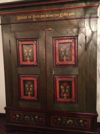 Bethlehem, NH: This antique Swiss Chest or Buffet is in the main Dining Room