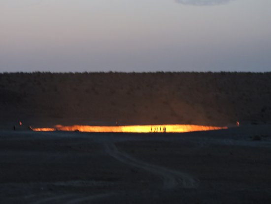 Darvaza, Turkmenistan: Darwaza fire crater at night