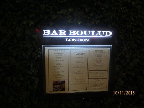 Bar Boulud: Menu'