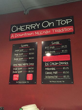 Neenah, WI: Cherry On Top ice cream connected to the dining room for your dessert needs after wood fire pizz