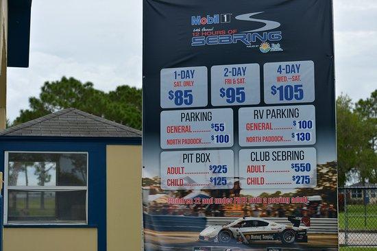 Sebring, FL: Billetpriserne