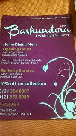 Bashundora: The Menu / take away flyer easy read good rices!