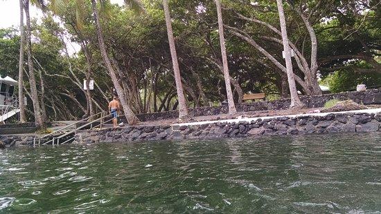 Pahoa, Hawái: entrance to pool area, lifeguard tower to left