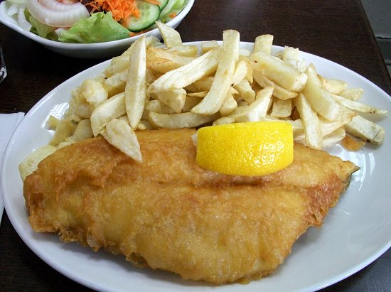 Rossi's Original: rossi`s original swansea-plaice+chips+salad