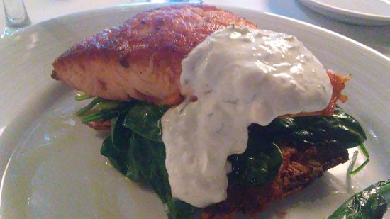 Yardley, PA: Salmon over spinach over potato pancake, covered with sauce
