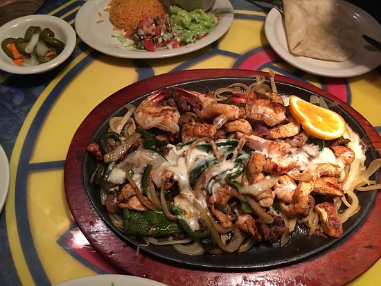 Rancho Grande: Awesome fajita platter called The Sheriff, HIGHLY recommended with generous portions of shrimp,