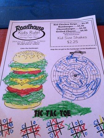 Paige, TX : Kids menu